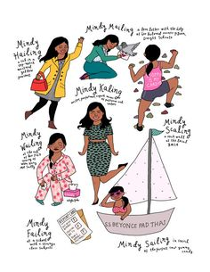 Rhymes With Mindy Kaling Print by roaringsoftly on Etsy Harry And Sally, The Mindy Project, Mindy Kaling, Day Work, Hand Illustration, Spirit Animal, Role Models, Girl Power, The Help