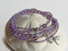 Bracciale perle seme viola libellula bracciale di xEsFunThings