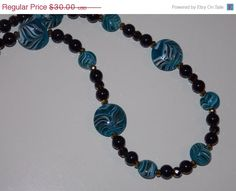 25% OFF SALE Blue Swirl Lampwork Necklace by EriniJewel on Etsy
