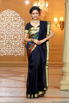 Women\'s Net Saree Bollywood Style Color :navy Blue