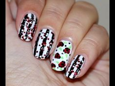 ▶ Retro Manicure: Stripes and Roses - YouTube
