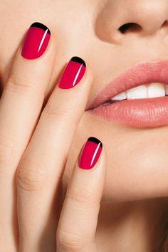 French Nails with Pink n Black Polishes #nails #nailart #nailpolish
