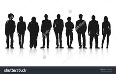 Silhouettes Of Casual People In A Row Stock Vector Illustration 245183899 : Shutterstock