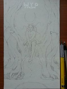 #WIP #TheMoon #MonikaPtokByard #78Tarot #SeventyEightTarot #tarotproject #artist #moon #card #sketch #drawing #art #artwork #goddess #woman #crescent #crescentmoon #mother #maiden #crone #nature #wolves #wolf https://www.facebook.com/pages/Faebyl-Art-Artwork-by-Monika-Ptok-Byard/158877114133669