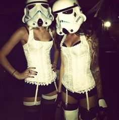 Okay, this makes me think of Mean Girls when they talk about Halloween being an excuse for girls to dress slutty. And just adding a pair of animal ears to lingerie. Or in this case...storm trooper helmets.