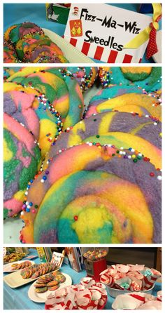 oh the places you'll go... dr seuss party ideas and the cutest rainbow swirl cookies!