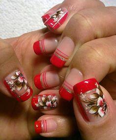Nail Arts for Small Nails Fancy Nails, Red Nails, Cute Nails, Pretty Nails, Hair And Nails, Nail Art Designs Videos, Red Nail Designs, Short Nails Art, Fabulous Nails