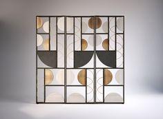 Art Deco Period Influences in Contemporary Interior Design Home Design, Design Hotel, Interior Design, Partition Screen, Partition Design, Room Divider Screen, Room Screen, Glass Partition, Geometric Furniture