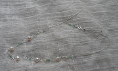 Sterling Silver Pearl and multi gemstone delicate necklace