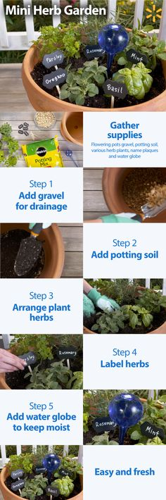 Springtime is for gardening. Here's a Helpful Hack that's decorative and functional: A Mini Herb Garden. You can put it together in 3 easy steps. First, get everything you need: a garden container, some gravel for drainage, potting soil, and your favorite herbs like parsley, rosemary, mint, and basil. Second, fill the container with gravel and soil then plant your herbs. Third, label the herbs for easy identification. Get everything you need to make this great Mini Herb Garden at Walmart.
