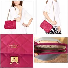 Kate Spade Emerson place Vivenna bag Authentic berry color Kate spade quilted bag. It can be worn both as cross body or over the shoulder. 14k gold plated hardware. Preowned. In good condition, small scuff at the bottom of the bag. Please see the picture. Comes with dust bag. Sold out everywhere.  kate spade Bags Shoulder Bags