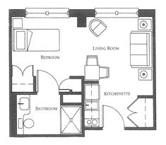 Bachelor Apartment Design Layout 400 sq. ft. layout with a creative floor plan. (actual studio