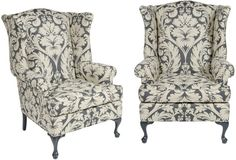 Regency-Style Wingback Chairs, Pair