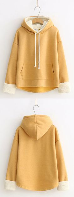 Solid Fluffy High-low Hem Hoodie for Women