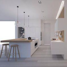 30 Inspiring Modern Scandinavian Kitchen Design Ideas – Dekoration World Beautiful Kitchen Designs, Modern Kitchen Design, Beautiful Kitchens, Minimal Kitchen, Diy Kitchen Cabinets, Kitchen Furniture, Kitchen Island, Wood Furniture, New Kitchen
