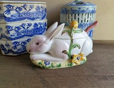 Bunny Rabbit Covered Saucier and Ladle, Covered Rabbit Dish Nove Italy, Italian Ceramic Pottery by MinniesFlea on Etsy