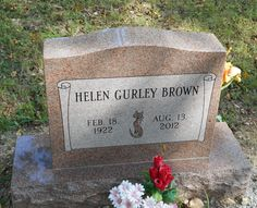 Grave Marker- Helen Gurley Brown, American author, and publisher. She is buried in the Sisco Cemetery, in Osage, Arkansas. (More go to: http://www.thefuneralsource.org/deathiversary/august/13.html)