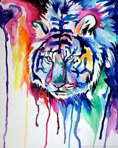 1243e08d8 Tiger T Shirt, Tiger Art, Colorful Animals, Rainbow Colors, Animal  Paintings,