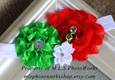 The Jingle Bell Baby Christmas Headband - Baby Girl Christmas Flower Headband with Real Jingle Bells - Little Joyful Noise -  Made to Order. $7.00, via Etsy.