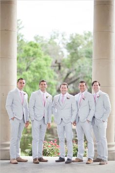 light grey and pink groomsmen looks http://www.vintagevinylcds.com/