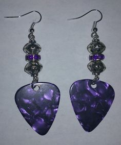 Purple Guitar Pick Earrings by NocturnalFashions on Etsy, $7.00