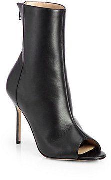 Manolo Blahnik Bellantomod Leather Open-Toe Ankle Boots auf shopstyle.de