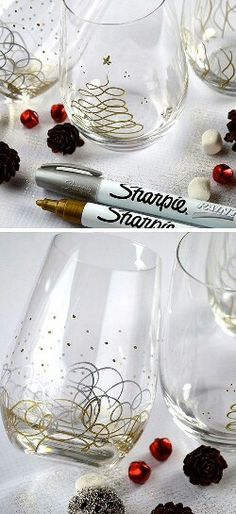 Glass decorated with Silver and Gold Sharpie pen.