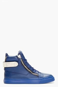 Giuseppe Zanotti Blue Leather Metal Accent High top Sneakers