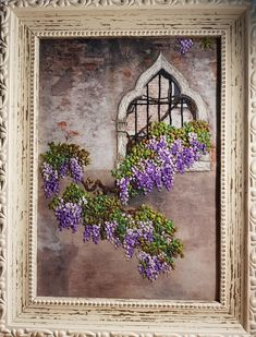 """Silk Ribbon embroidery. """"Wisteria in the old courtyard"""" - 14*22 cm"""