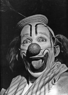 Bing Crosby as a clown for the St. John's Hospital benefit.