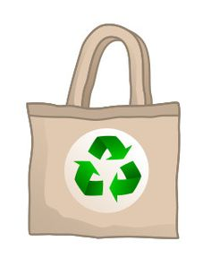 Cute recycling cartoon bag made from simple basic shapes.