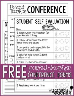 Free parent teacher conference pages and tons of tips!