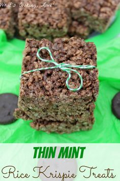 Thin Mint Rice Krispie Treats.  Chocolate Rice Krispie Treats made with Thin Mints or any other chocolate mint cookie.  An easy and delicious treat! #ricekrispie #chocolate #mint