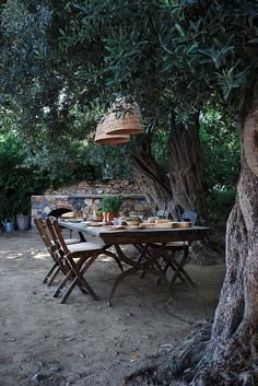 Design Magnate Jasper Conran's Greek Vacation Home Alfresco dining at Jasper Conran's getaway home on the Greek isle of Rhodes. Outdoor Rooms, Outdoor Dining, Outdoor Tables, Outdoor Gardens, Outdoor Decor, Dining Table, Rustic Outdoor Spaces, Dining Area, Dining Room