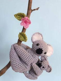 Baby Koala and her Mom. Free crochet pattern