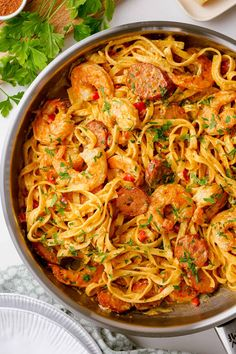 Ready in just 30 minutes, packed with shrimp and sausage, and minimal prep work! This Cajun shrimp pasta will quickly become a family favorite. Shrimp And Sausage Pasta, Shrimp Pasta Dishes, Cajun Sausage, Sausage Pasta Recipes, Garlic Shrimp Pasta, Shrimp Pasta Recipes, Easy Pasta Recipes, Cajun Recipes, Cooking Recipes