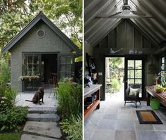 Stucco shed with exposed beams and a Pennsylvania bluestone floor / Too pretty to serve as a potting shed; I could live here! / Photo Gallery: Smart Looking Sheds Exterior Paint Colors For House, Paint Colors For Home, What Is A Conservatory, Vancouver, Shed Homes, Shed Plans, Gloucester, Garden Cottage, Play Houses
