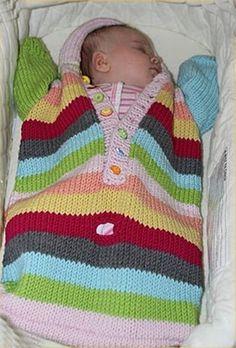 Eu que Fiz - Vovó Baisa: Saco para bebê colorido - tricô