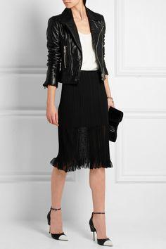 Balenciaga Jacket, Skirt and Clutch + Chloé Top + Givenchy Pumps