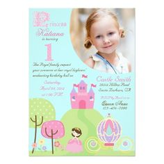 Sweet fairy tale princess birthday party theme invitation card design with a photo insert template.