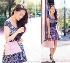 Meet my dream bag Prada Saffiano Promenade and her friends - floral skater dress and cinched belt on www.StylebyAlina.com blog.