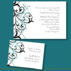 floral wedding invitations, blue wedding invitations, aqua wedding invitations, pretty wedding invitations
