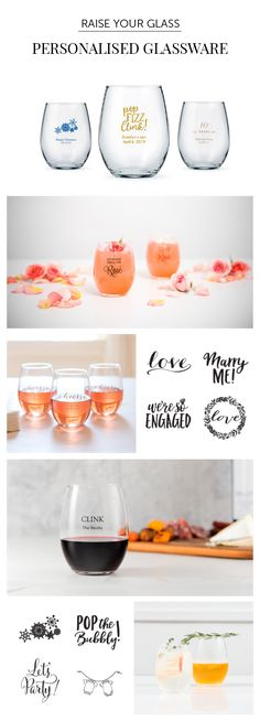 Give each toast a personal touch with these chic stemless wine glasses that hold a generous 15 oz! The perfect wedding favours, they feature our exclusive bride and groom design that will complement your theme. Personalise with your names and the wedding date for fabulous mementos (and tabletop decor).
