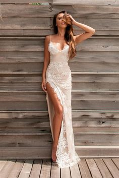 Sexy Prom Dress,Spaghetti Straps Prom Dresses,Backless Prom Dresses,Side Slit Prom Dress,Appliques Evening Gowns