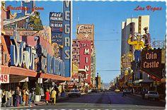 Vintage postcard of Fremont Street in old downtown Las Vegas 1971.