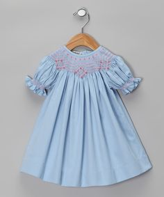 Classy Couture Blue Carla Hand-Smocked Bishop Dress - Infant & Toddler | zulily