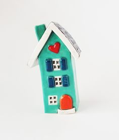 Clay House | Ceramic House | Whimsical House | Mint Color | Clay Cottage | Little House | Heart Home | Mint Cottage by HeartHomes on Etsy