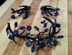 Vintage Signed VENDOME Japanned Blue Purple Rhinestone Brooch & Earrings Set #Vendome