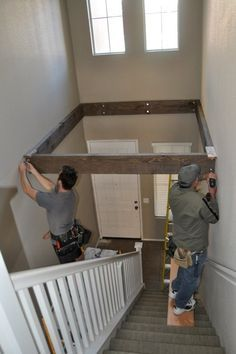 Turn dead space above a staircase into a playroom or computer room. love this idea Home Renovation, Home Remodeling, Dead Space, Loft Spaces, Pallet Furniture, Home Projects, Playroom, Diy Home Decor, New Homes