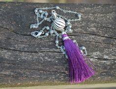 Purple Tassel Necklace Silk Tassel with by practicallyfrivolous, $32.00